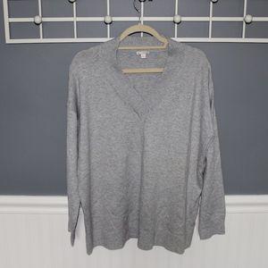 Gray V-neck Knit Sweater